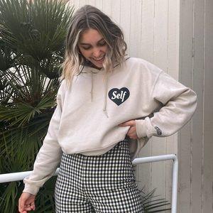 Self love hoodie tan sweatshirt pocket